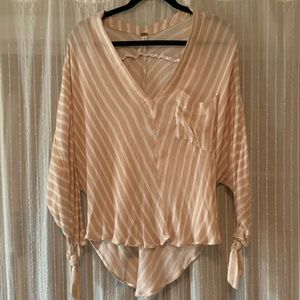Free People blush/cream flowy blouse small